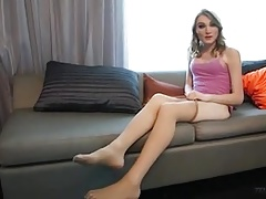 Stockinged T-girl Soles and Wank Off