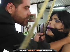 She-male stunner in restrain bondage getting her gigantic caboose pulverized by a man