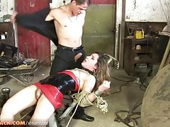 Petite man sausage ladyboy in   gets pulverized in restrain bondage