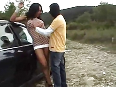 Dark-hued  she-male boink outdoors young Dame 1