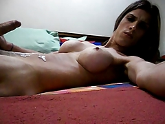 Tgirl Shoots a load