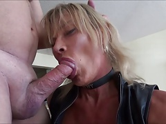 super-bitch leather t-girl meet dad meaty dick