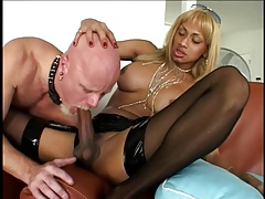 dark-hued shemale-white stud sub