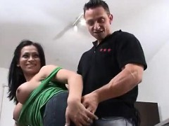 Cool black-haired t-girl gives him a surprise