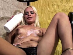Blonde shedoll with sincere tits enjoys milk bath with an increment of jerks