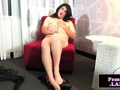 Chubby untrained femboy masturbating solo