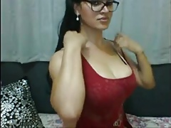 Fantastic She-creature In Glasses Squirts Her Stiffy On