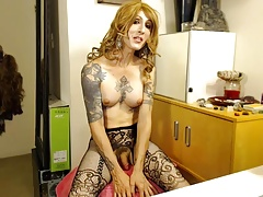 mature tattoed she-creature jerking