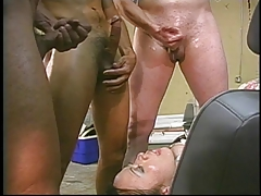 Triple teamed she-creature gets jizm ate off her face by a mature gent