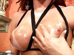 Redhead she-creature has yam-sized ballsack full of spunk but micro cock