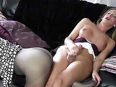 Ash-blonde transgender princess milks thick beef whistle before cuming on red-hot nylon bum
