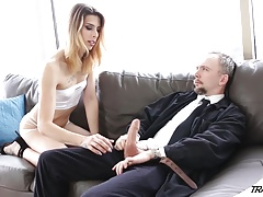 Tgirl Casey  pays rent with her  and throat